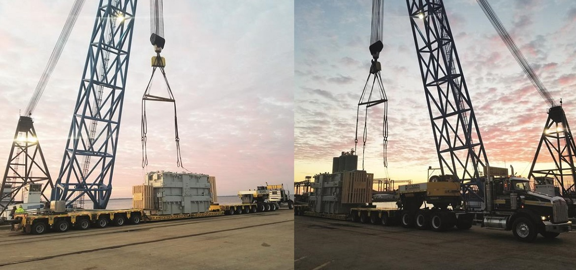 Dynamic Specialized transports massive transformer in Newport News technology